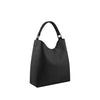Black Leather Zippered Shoulder Bag - N15
