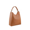 Tan Leather Zippered Shoulder Bag - N15