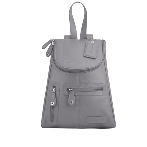 Grey Leather Backpack - R107