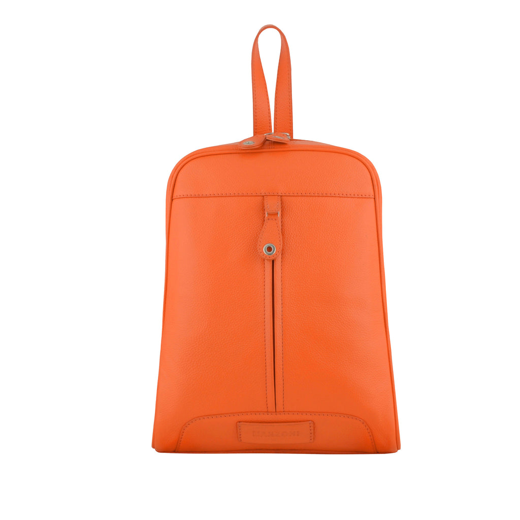 Orange Leather Backpack - R110