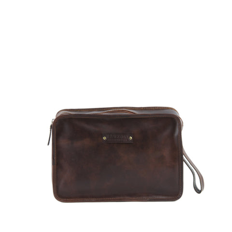 Tan Distressed Leather Pouch - T419