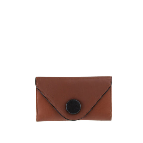 Tan Leather Button Wallet - W532