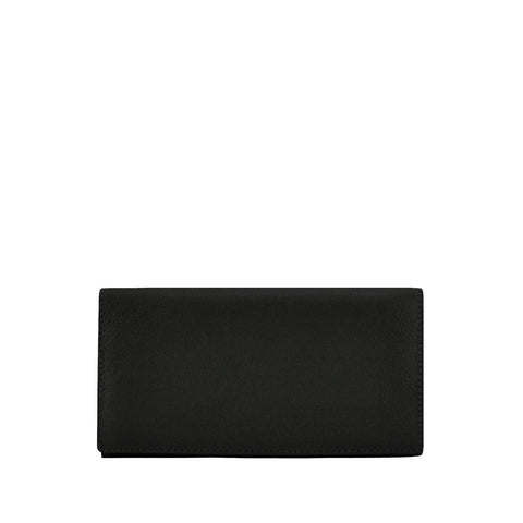 Black Leather Bifold Wallet - W708