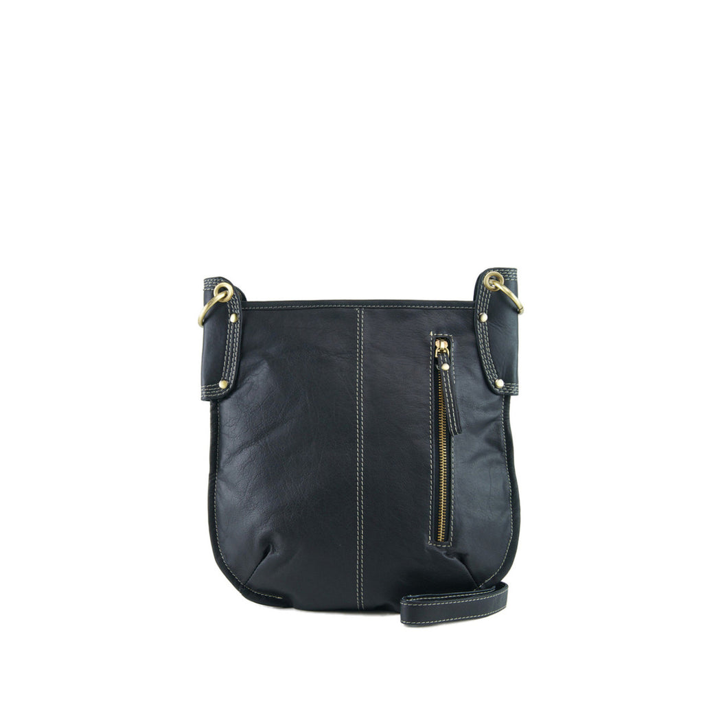 Black Leather Crossbody - A132