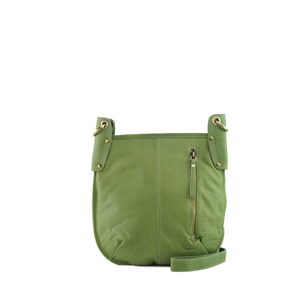 Green Leather Crossbody - A132