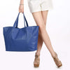 Navy Oversized Leather Tote - A219