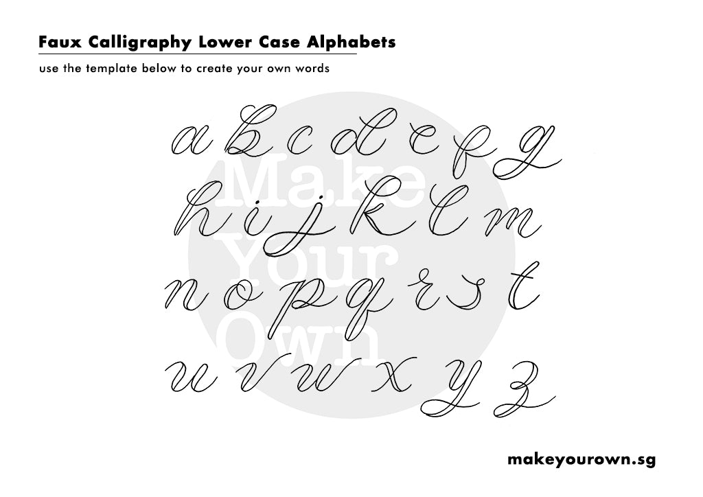 faux calligraphy template lowercase