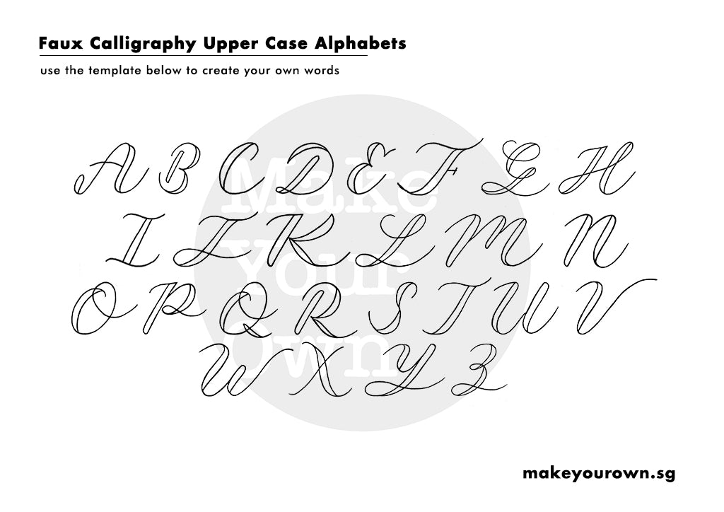 faux calligraphy template uppercase