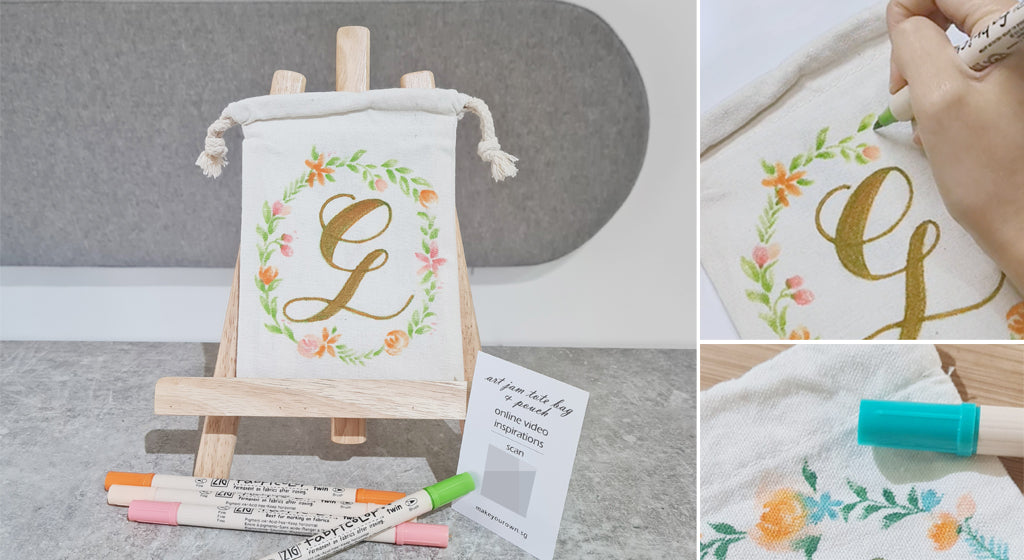 faux calligraphy floral pouch step by step