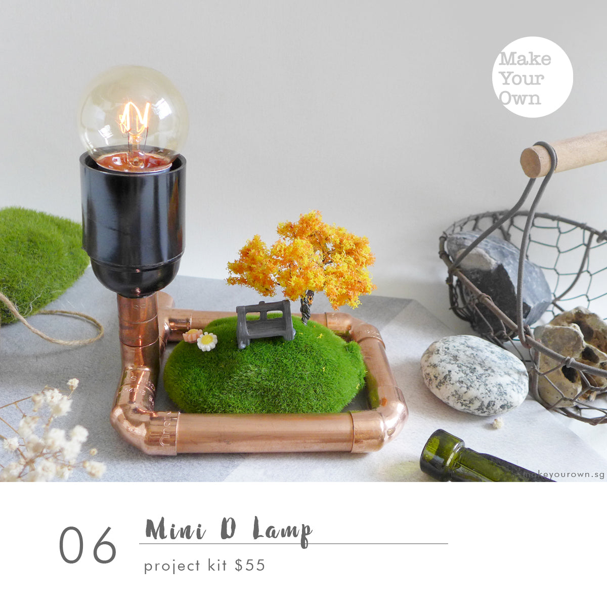 mini D copper lamp workshop singapore