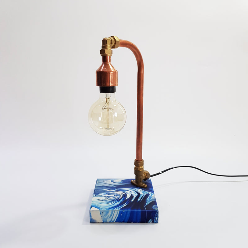 Handmade Copper Lamp with Acrylic Pour Art (3)