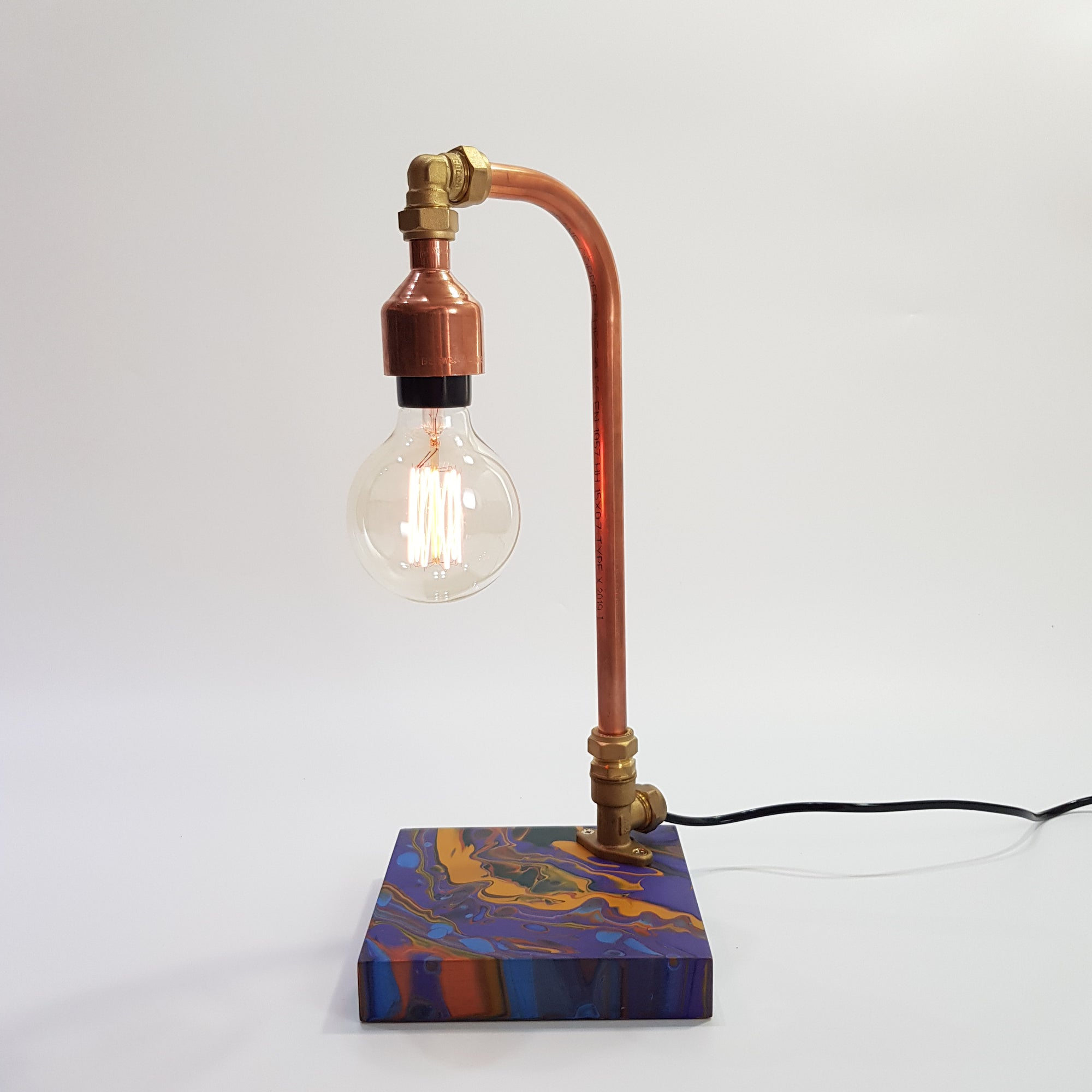 Handmade Copper Lamp with Acrylic Pour Art (2)
