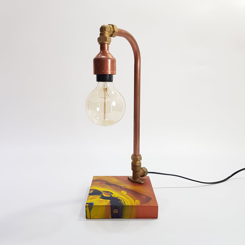 Handmade Copper Lamp with Acrylic Pour Art (1)