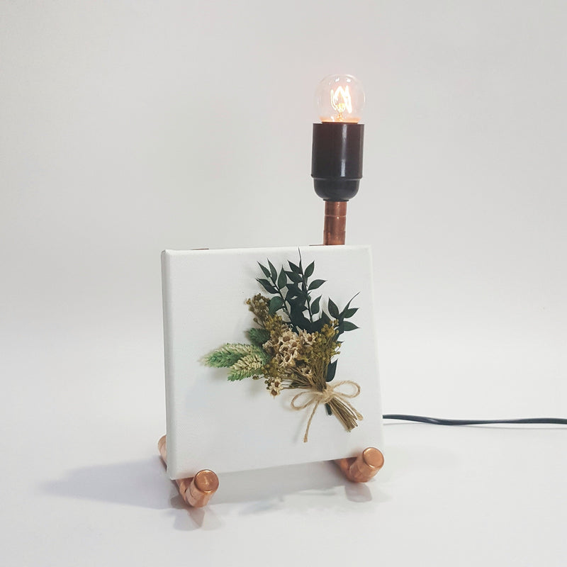 Floralscape Canvas and Copper Lamp