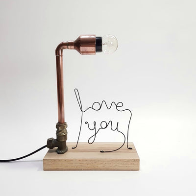Handmade copper lamp with customised word Singapore