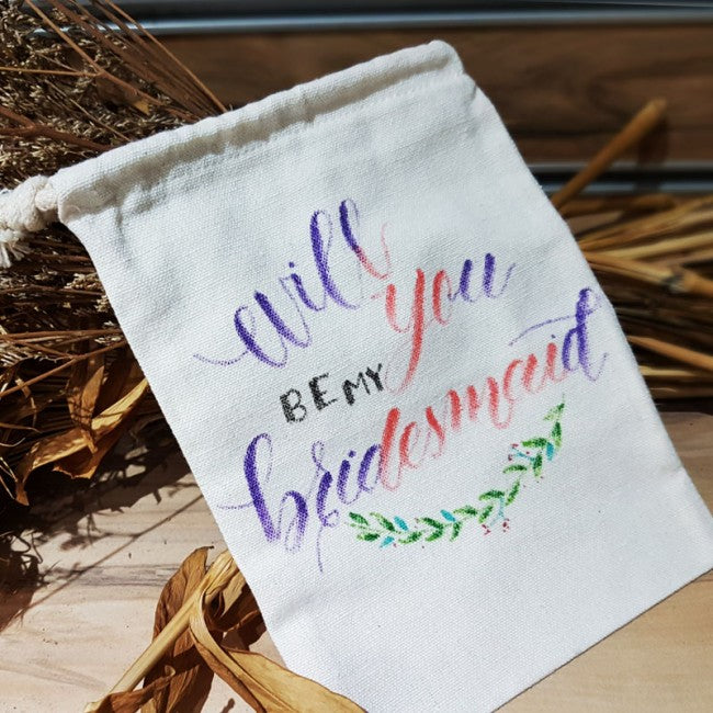 Bridesmaid/Wedding modern calligraphy customised quote on fabric pouch