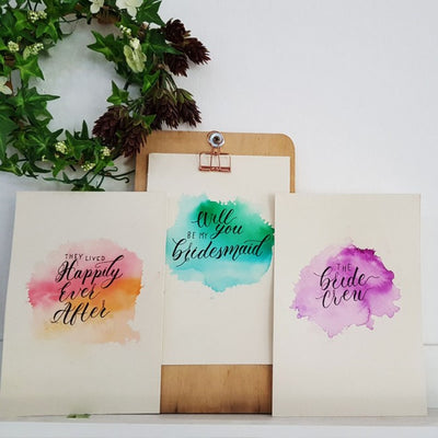 Bridesmaid/Wedding modern calligraphy customised quote on watercolor paper