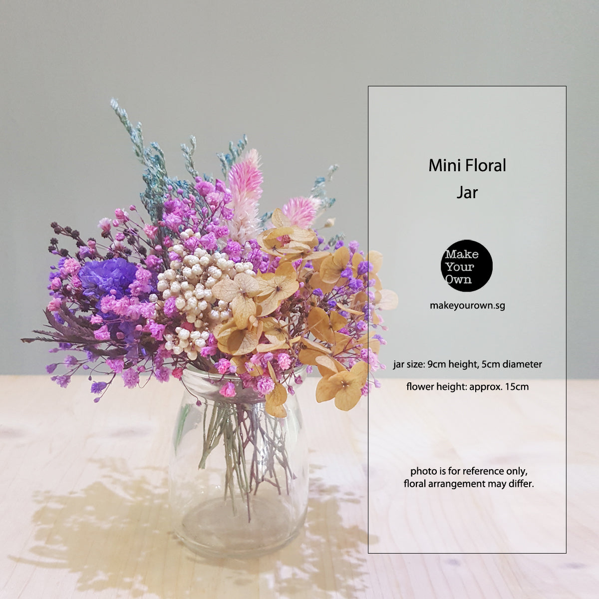 korean dried preserved flower arrangement diy kit virtual event workshop Singapore