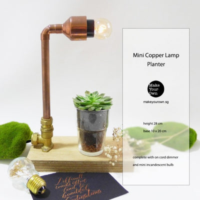 Corporate Mini Copper Lamp & Planter Workshop Singapore