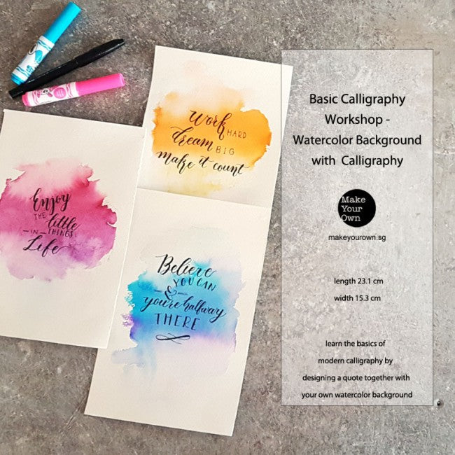 Corporate Basic Calligraphy WorkshopSingapore Watercolor Background with Calligraphy