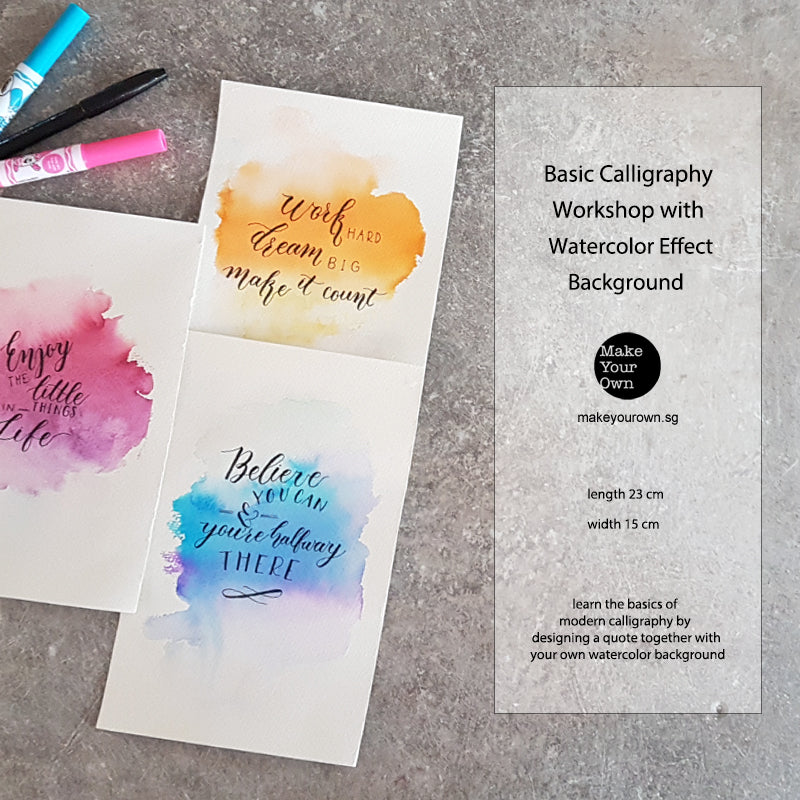 virtual corporate workshop basic calligraphy with watercolor background singapore