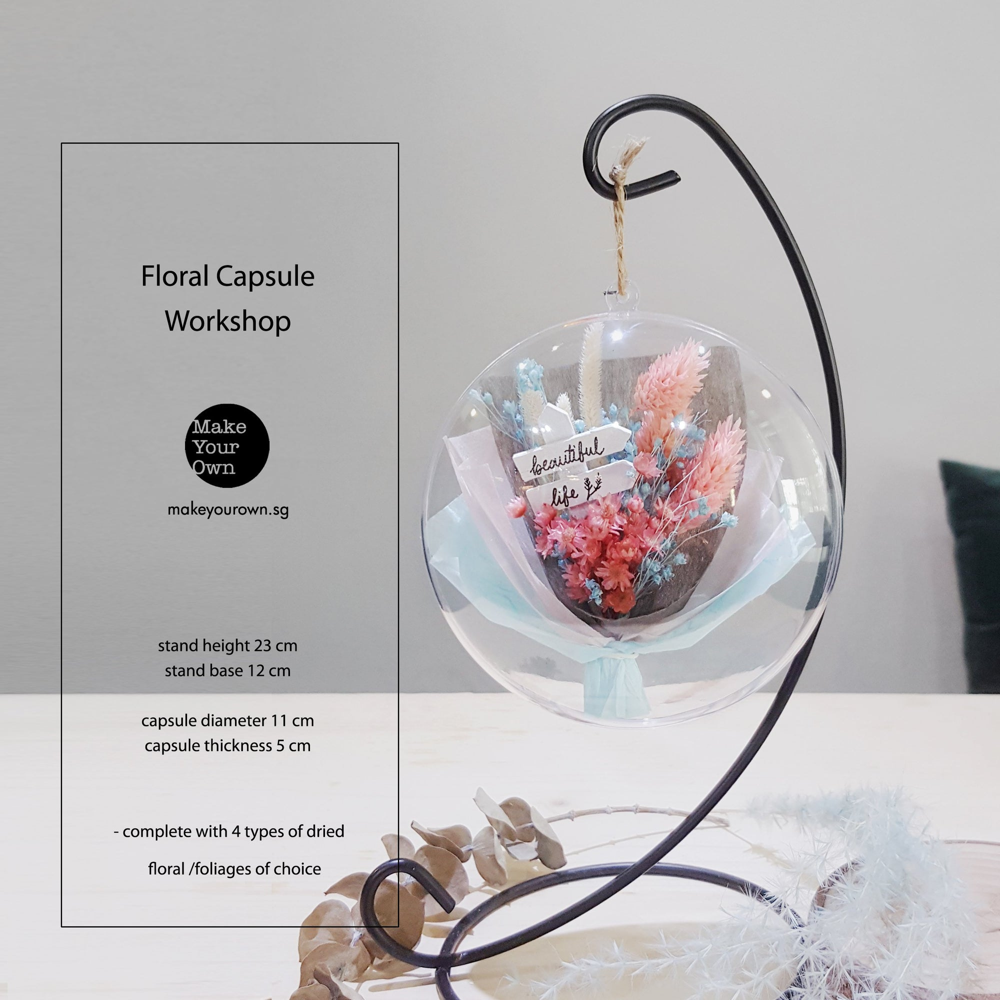 floral capsule workshop singapore korean bouquet wrapping dried preserved flowers