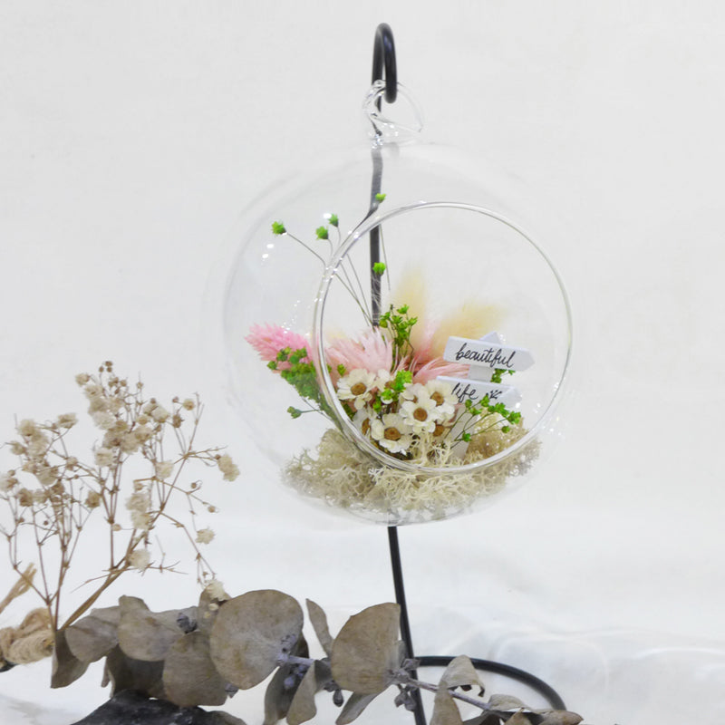 dried preserved flower arrangement korean style glass globe diy kit workshop singapore