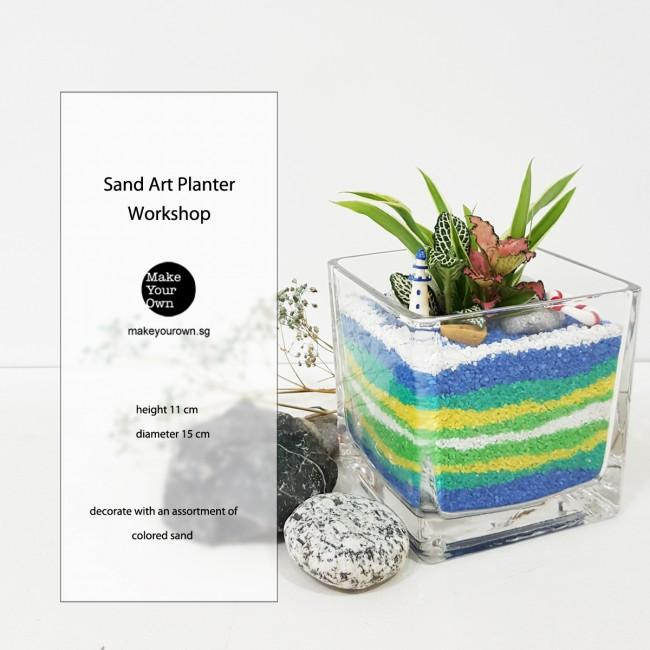 Virtual Zoom Corporate Sand Art Planter Workshop Singapore - Open Terrarium
