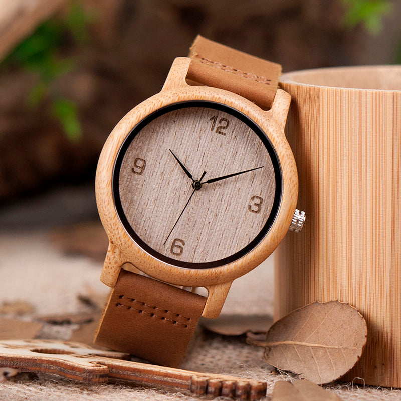 BOBO BIRD'S Women's Antique Bamboo Watch With Leather Strap - Wood Addiction