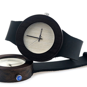 BOBO BIRD'S Women's Ebony Wooden Watch with Leather strap