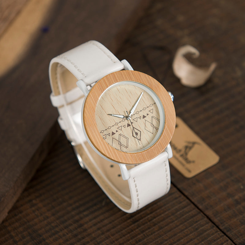 BOBO BIRD'S Bamboo Wristwatch For Women with Leather Band