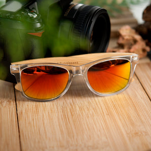 BOBO BIRD'S Men/Women's Clear Frame Bamboo Polarized Sunglasses
