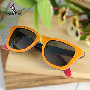BOBO BIRD'S  Men/Women's Polarized Layered Wooden Framed  Sunglasses