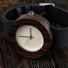Load image into Gallery viewer, BOBO BIRD'S Women's Ebony Wooden Watch with Leather strap