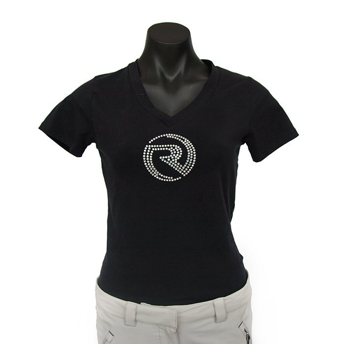 Ladies Diamante V Neck Tee - Black