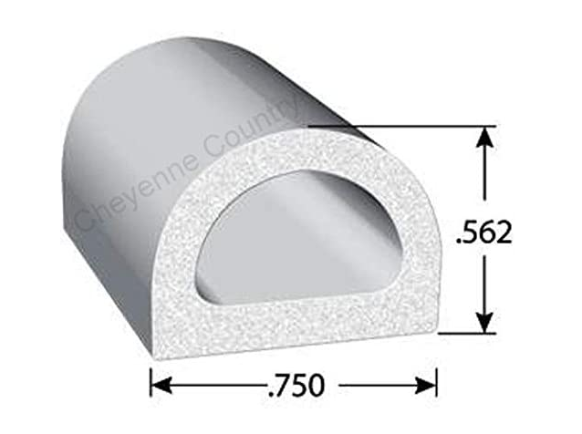 Rubber Seal D-Shaped with 3M Self-Adhesive Tape Large (per metre)