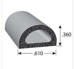 Rubber Seal D-Shaped with 3M Self-Adhesive Tape Small (per metre)