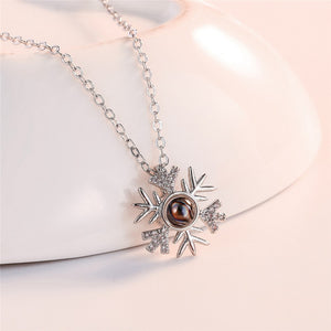 "100 Languages ""I Love You"" Snow Flakes Pendant"