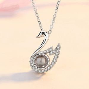 "100 Languages ""I Love You"" Swan Necklace"