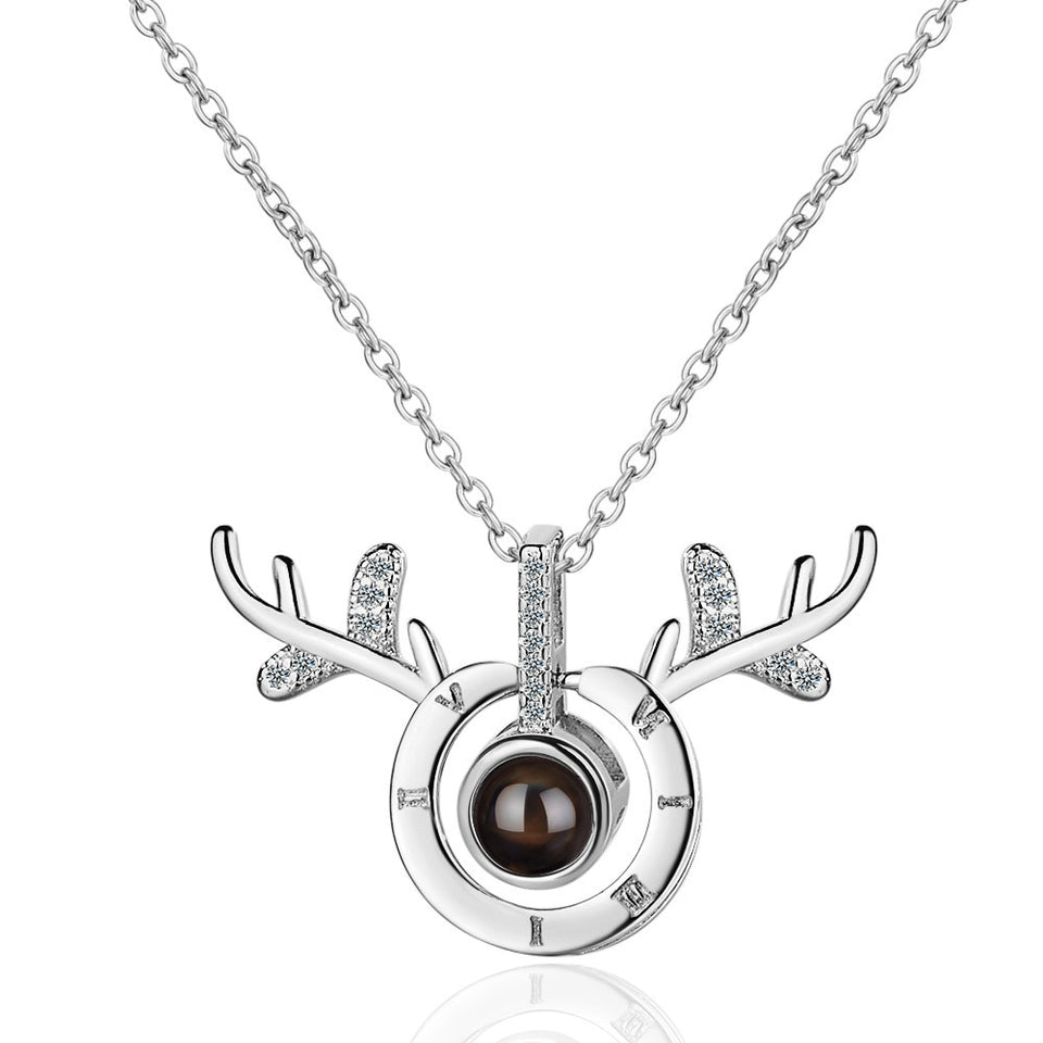 "100 Languages ""I Love You"" Elk Antlers Pendant"