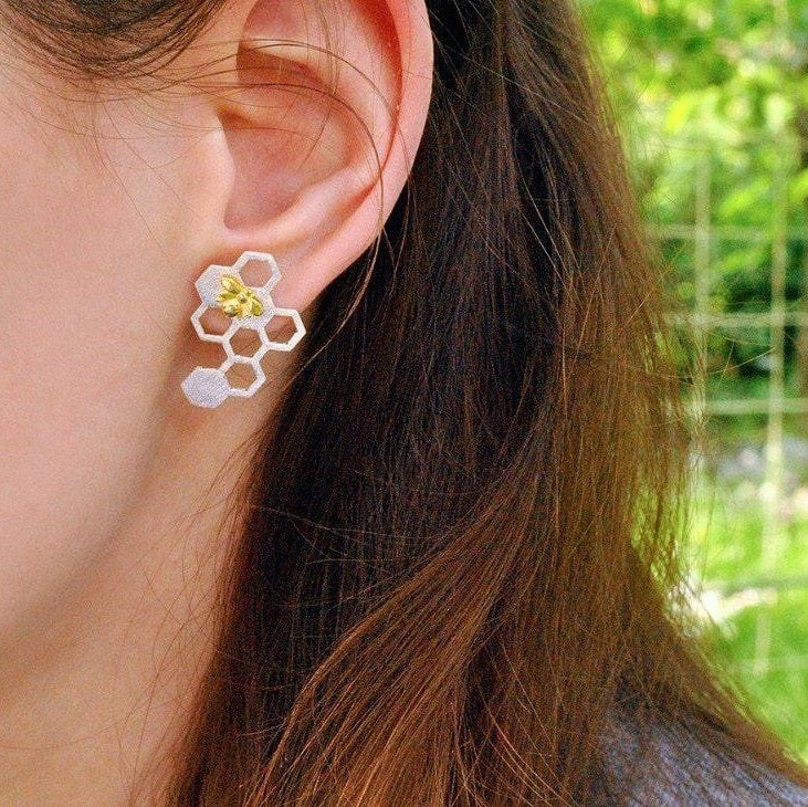 Wearing Honeycomb Earrings