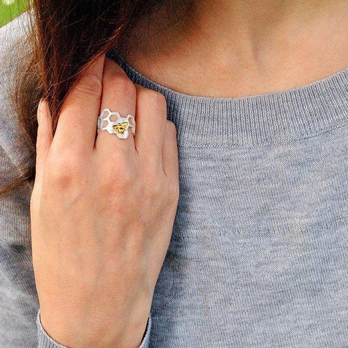 Wearing Honeycomb Necklace Ring