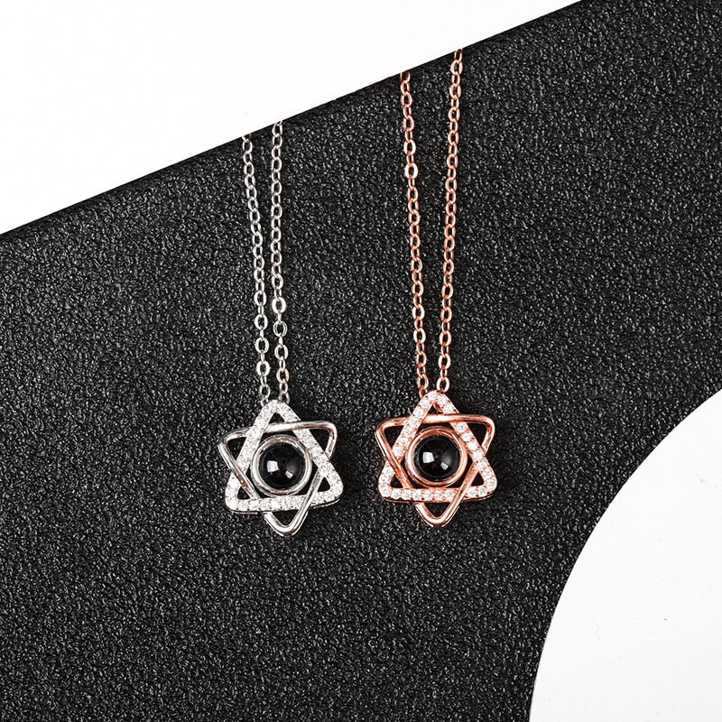 "100 Languages ""I Love You"" Star of David Pendant"