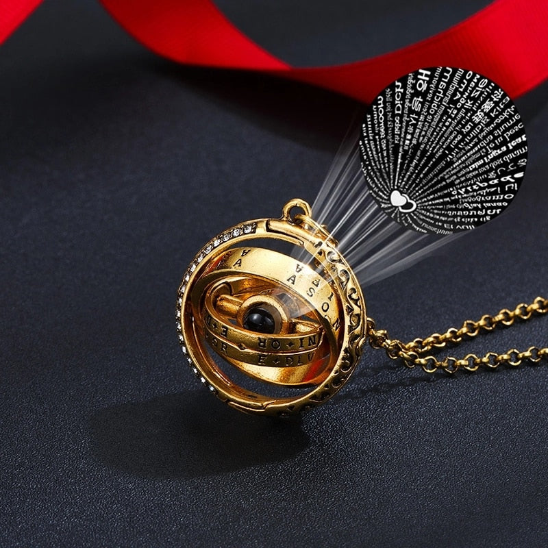 "100 Language ""I Love You"" Astrolabe Pendant Necklace"
