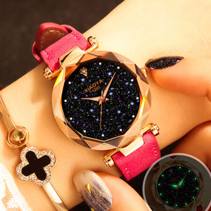 Starry Sky Leather Quartz Wristwatch