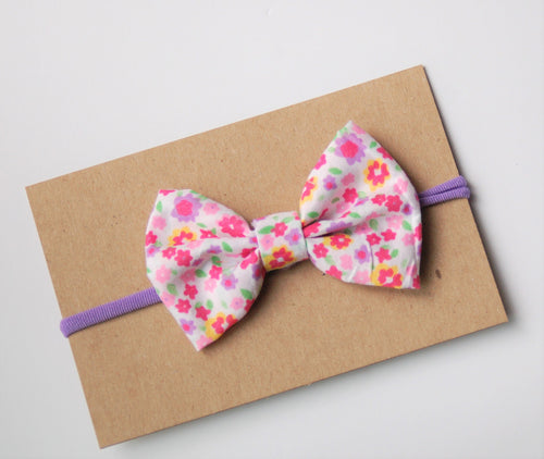 Pink & Purple Bow on Nylon Headband