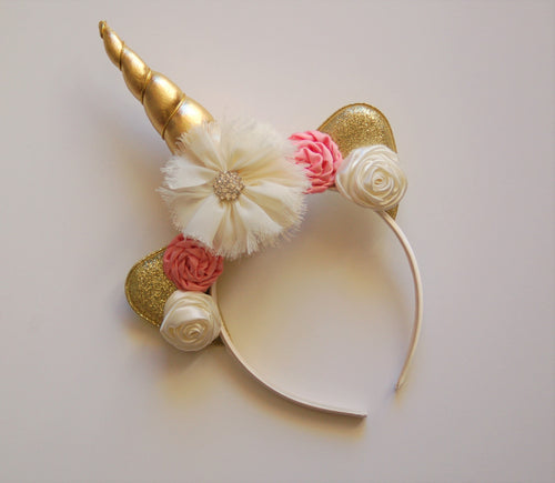 Pink, Ivory & Gold Unicorn Headband