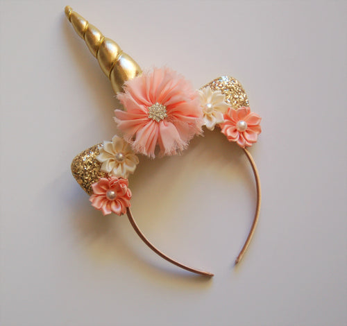 Peach & Gold Unicorn Headband