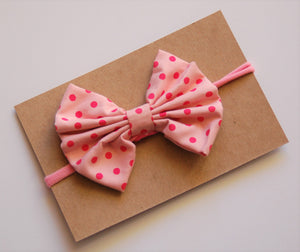 Pink polka dot Bow on Nylon Headband