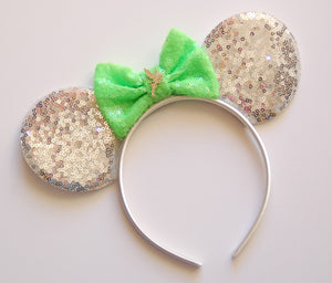 Silver with neon green Mouse Ear Headband
